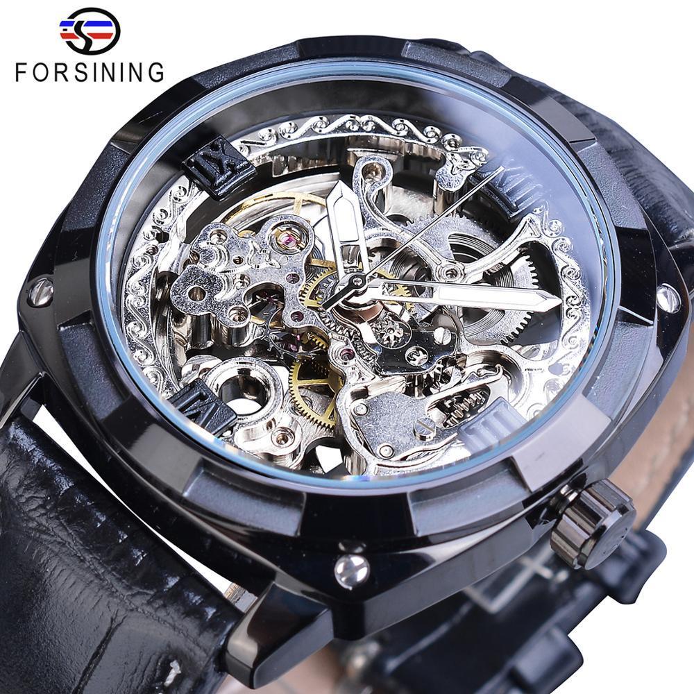 Forsining رجال موضة جديدة الميكانيكية ووتش الأسود الهيكل العظمي التلقائية التناظرية ساعة اليد حزام جلد الأعمال الساعات MONTRE أوم