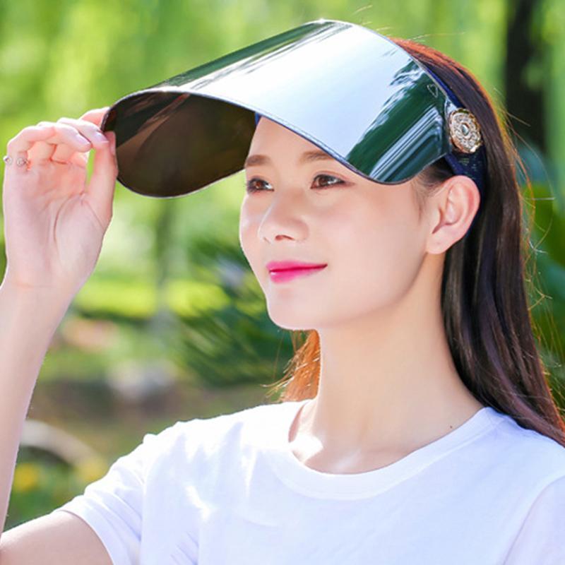 Mujeres Verano Vacío Top Visor Caps Transparente Casual Carta Sunhat Deporte al aire libre Motocicleta Sombrero Hombres Anti UV Sunbonnet