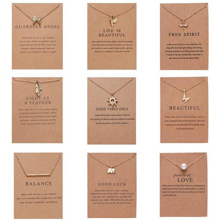 Kadınlar için moda kolye, Altın rengi, 9 Stiller kolye, senin Sınıf Arkadaşı, Friend, Anne Takı için Opp Paketi Best Hediyelik Paper Kart Ambalaj