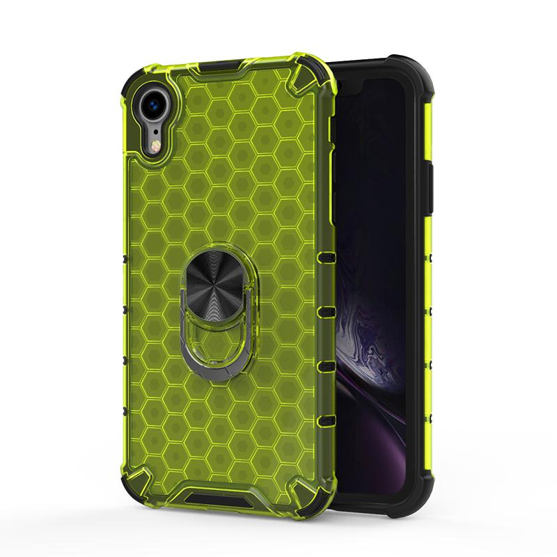 Honeycomb Ultra-Thin Clear Hard PC Back Soft TPU Bumper Cover with Metal Magnetic Ring Holder for iPhone XR Case