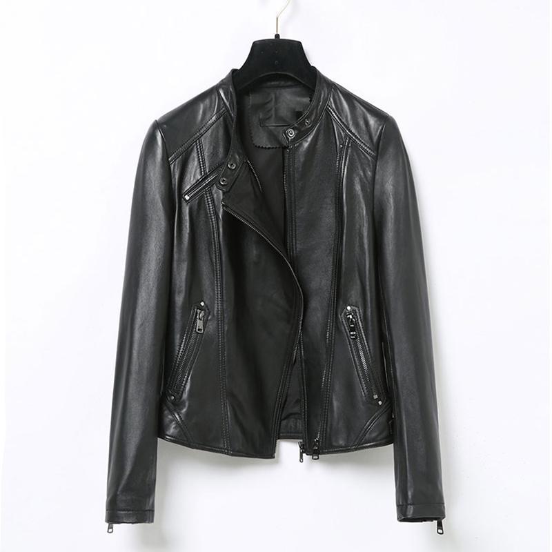 Leather Jakcet Womens Spring Fashion sheepskin genuine leather Coat zipper black jacket female autumn 100% natural coat