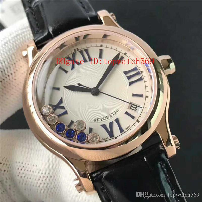 Новый HAPPY DIAMOND смотреть Бриллиантовые смотреть женщина часы Swiss Automatic 9015 Sapphire розовое золото 316 Стальной корпус кожаный ремешок