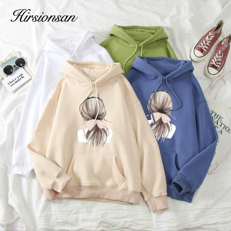 Hirsionsan Kawaii Hoodie femmes plus Velvet Épaissir Cartoon Imprimer Sweat-shirt de poche couple Pull selfie surdimensionné Réchauffez Jumper