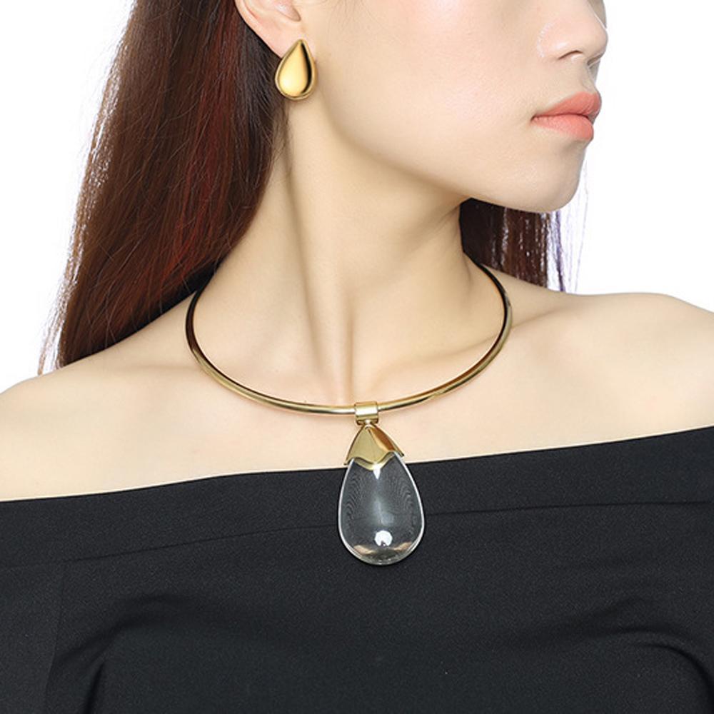 Einzigartige Titan Stahl Glas Tropfen Kragen Ohrstecker für Frauen Übertreibung Einfache Damen Aussage Halskette Partei Schmuck Set