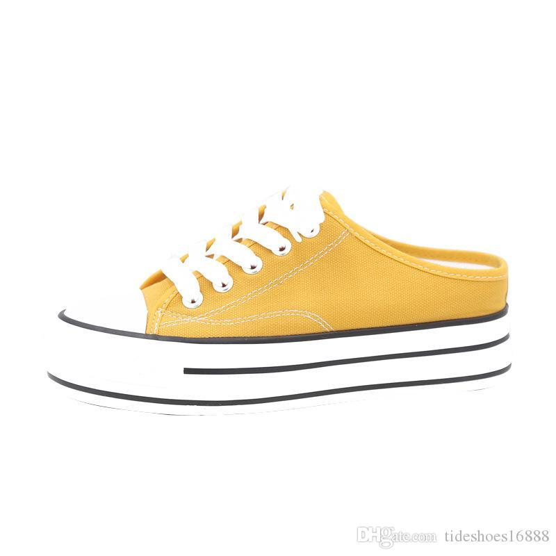 Nuevos zapatos de lona Plataforma de mujer 2019 Medias zapatillas Cuñas Tacones altos Zapatos gruesos Zapatillas amarillas Mujer Zapatillas Mujer Casual