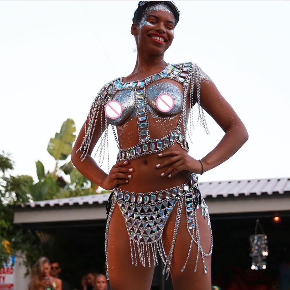 Sexy handmade Body Chains patchwork crystal bra set summer adjustable size underwear hollow out gem bras tassel panty bottoms T200508