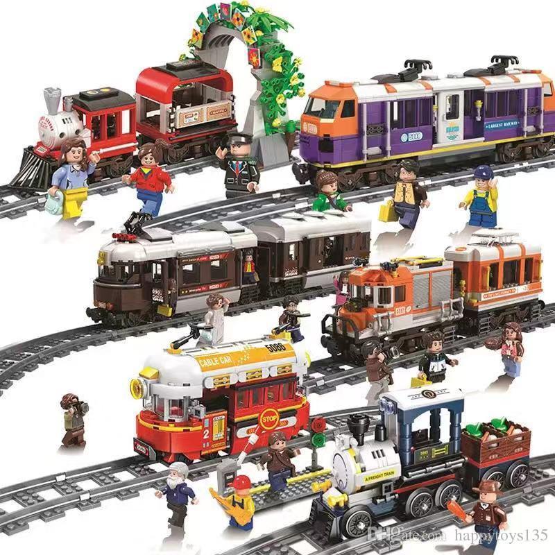 새로운 도착 기차 빌딩 블록 철도 트랙 기차 장난감 건물 세트 어린이 크리스마스 선물 르 핀 블록 벽돌