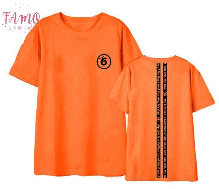 2017-Sommer-Art Day6 Jeden Tag 6 Im Juli Konzert Samt Drucken O-Hals-T-Shirt für Kpop Fans Männer Frauen Kurzschluss-Hemd