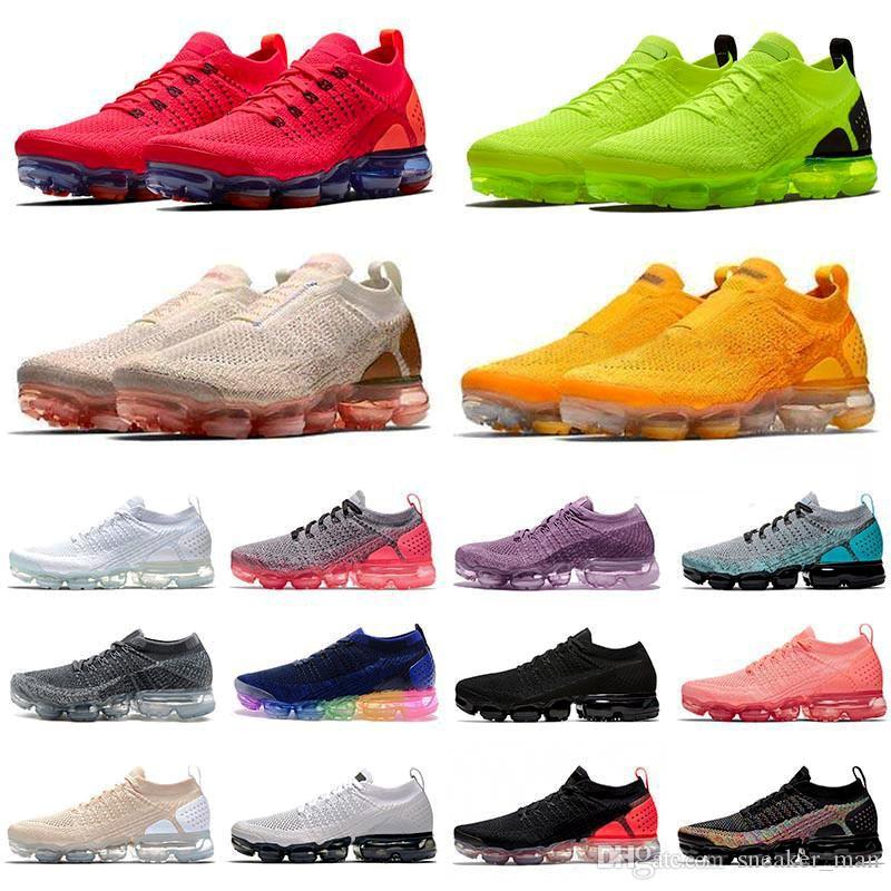 Nike Vapormax 2019 Moc Flyknit 2 Off White Tn Plus Red Golden Purple Triple  Black Vapor Mujer Hombre Zapatillas De Running HOT PUNCH Zapatillas De ...