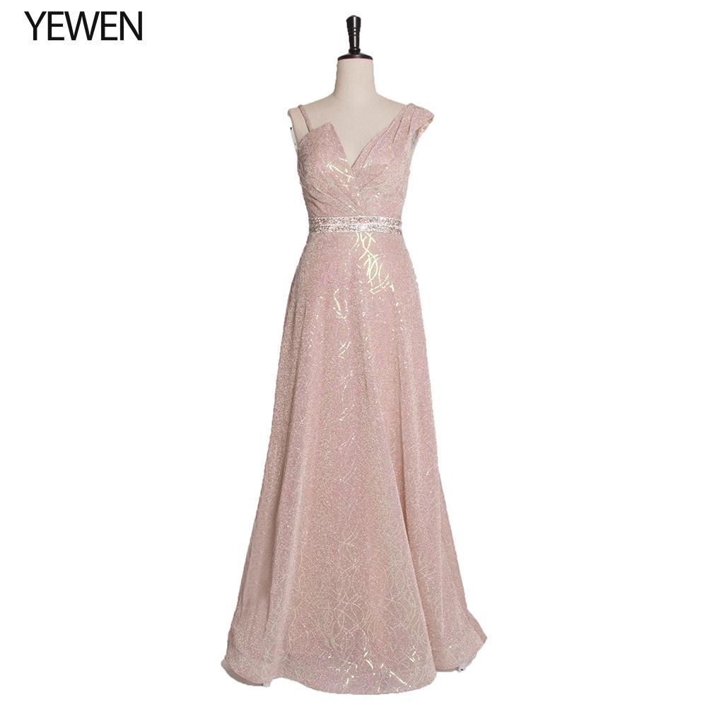 vestido de noche reciente con cuello en V vestido de fiesta princesa de las mujeres la noche de lentejuelas de oro LT4106 vestidos de fiesta formal largo Vestidos de fiesta