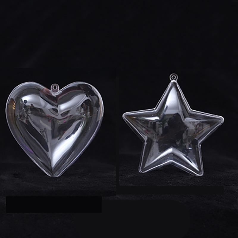 Cancella Natale Tress decorazioni cuore stella trasparente aperto plastica trasparente ornamento albero decorazioni di natale Forniture Candy sfera