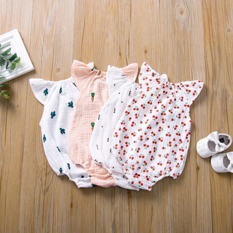 5 Colors Newborn Baby Romper Summer Jumpsuit Cherry Cactus Printed Infant Girl Princess Onesies Bodysuit Clothes New 2020