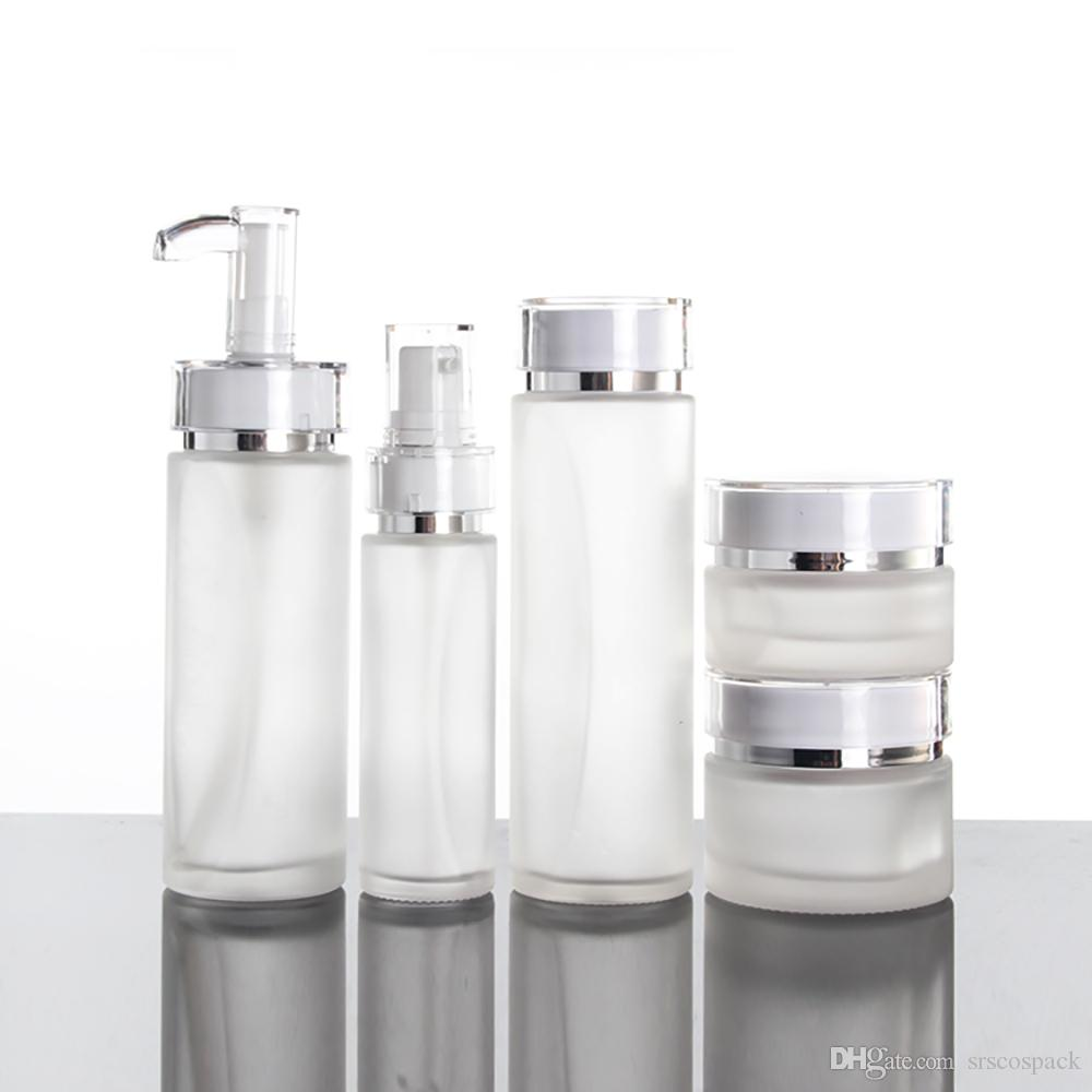 Nouveau flacon pompe de lotion de verre de 40 ml en forme de ceinture blanche de conception avec pumpa plastique blanc, sous-bouteille vide pour cosmétique