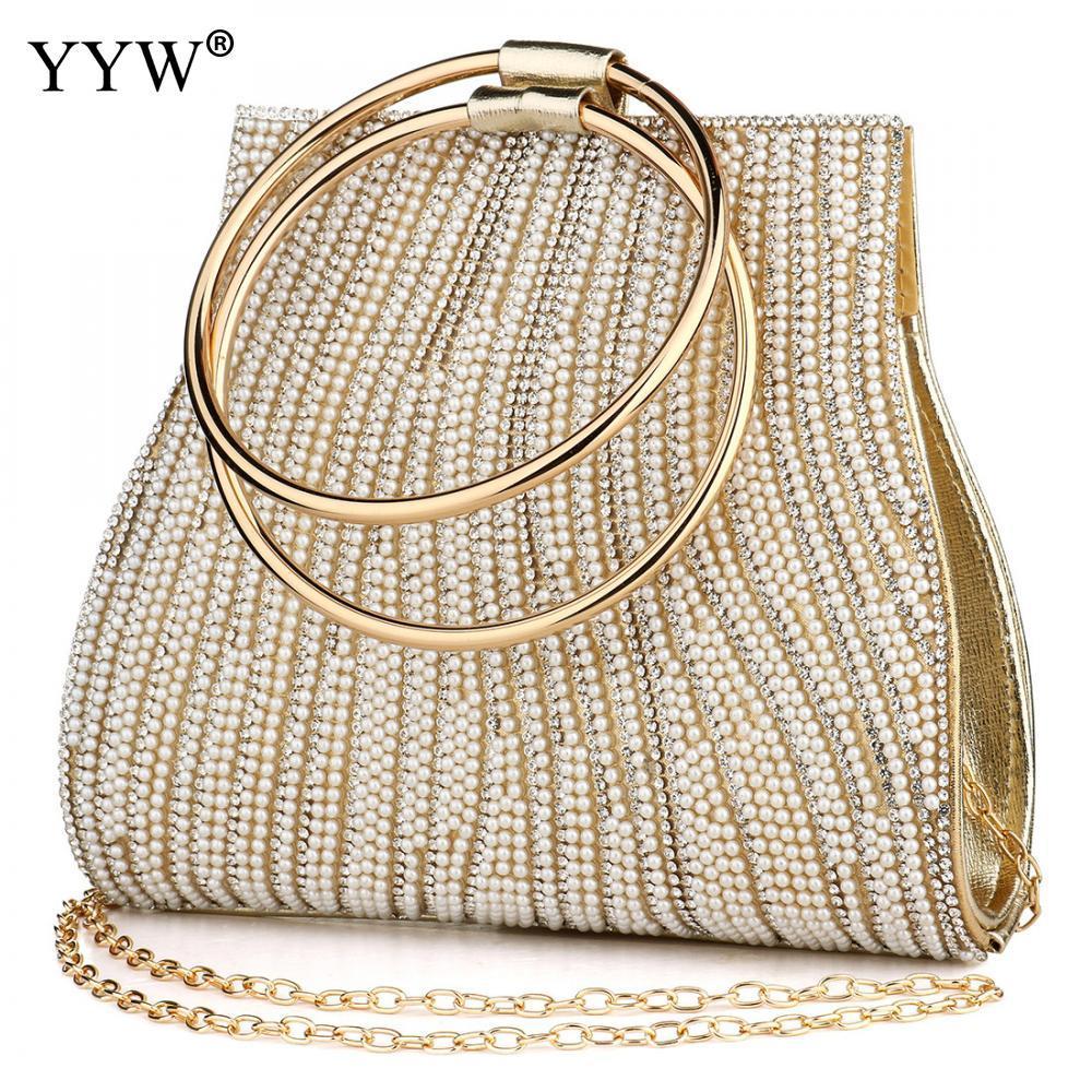 Designer- 팜므 여성 원형 링 지갑과 핸드백 모조 다이아몬드 구슬 여성의 어깨 가방 럭셔리 핸드백 여성 가방 디자이너