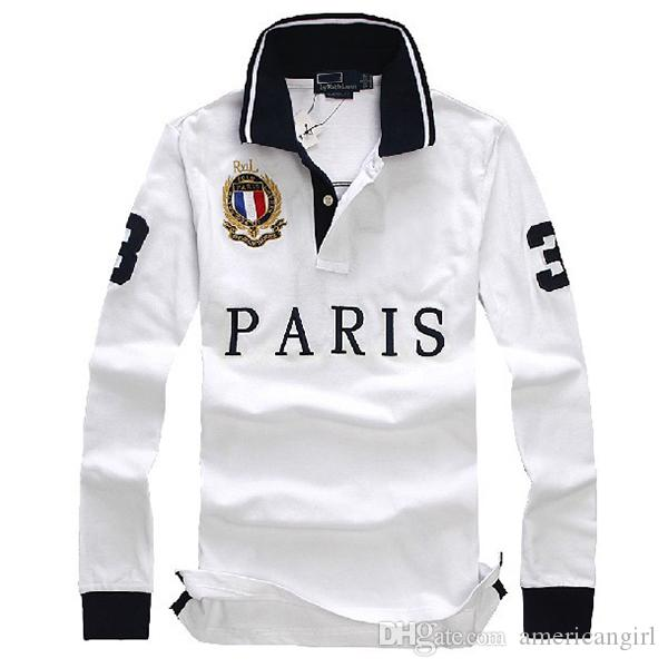 Camisetas de polo de manga larga de diseñador para hombre con tecnología de bordado camiseta de polo casual de moda de algodón