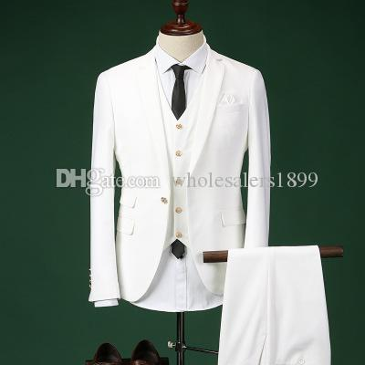Klassische eine Taste weiß Bräutigam Smoking Kerbe Revers Groomsmen Männer Hochzeitsanzüge Bräutigam (Jacke + Hose + Weste + Tie) NO: 86