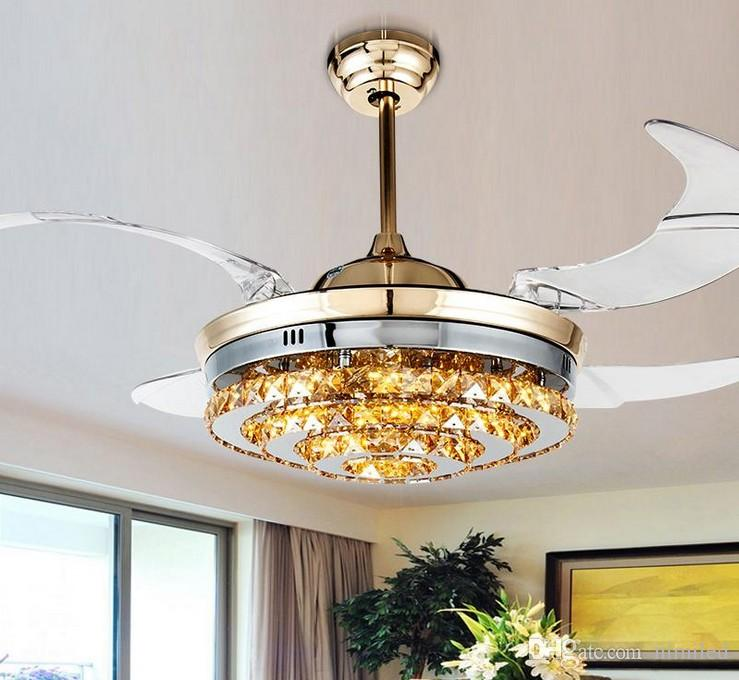 Modern LED Görünmez Kristal Tavan Hayranları Işıkları ile 42 Inç Yaşayan ROM Yatak Odası Katlanır Tavan Fanlar Avize Uzaktan Kumanda LLFA Ile