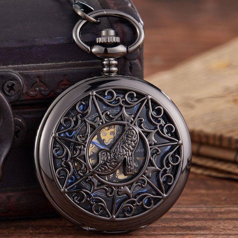 Новое прибытие Механические карманные часы черный Резной цветочным узором Hollow Fasion туфли на высоком каблуке Mechanica карманные часы для подарков T200502