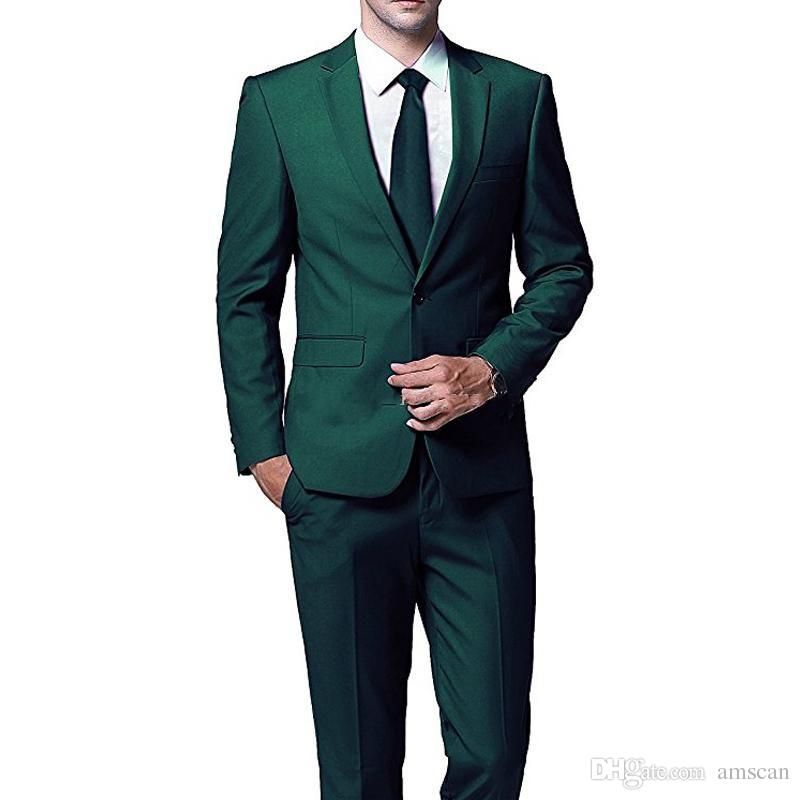 Dark Green Men Wedding Suits 2019 Two Piece Groom Tuxedos Peaked Lapel Slim Fit Men Party Suit Custom Made Groomsmen Suits Jacket Pants Formal Dress Mens Formal Trousers Mens From Amscan 69 35 Dhgate Com