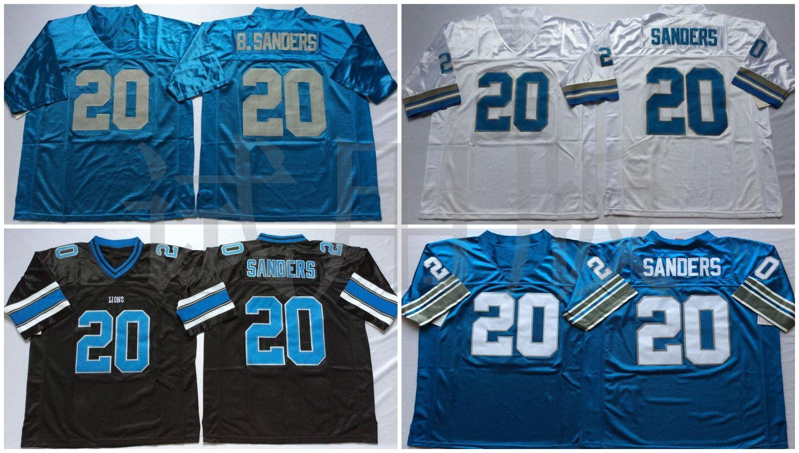 Barry Sanders White Black Blue NCAA Football Jerseys High Quality Quick Dry Breathable Jersey Men Retro Stitched