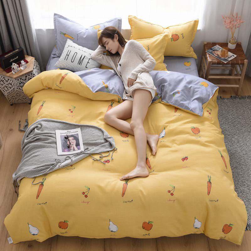 4pcs del lecho lindo Hoja de impresión funda nórdica funda de almohada Conjunto de lujo reina del algodón Tamaño edredón cubre los sistemas de cama Ropa de cama para la muchacha