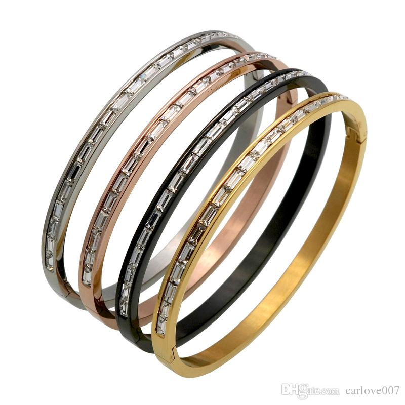 2019 New brand fashion luxury Card buckle Titanium steel Set auger bracelet personality women charm love couple bracelet jewelry
