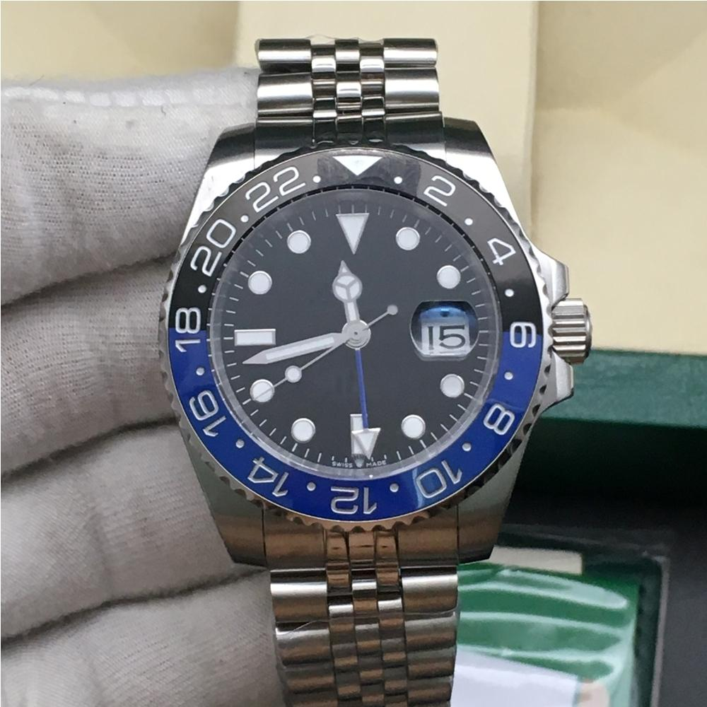 أحدث الأوجه 7 ألوان الساعات الرجال 116710 126710 الأزرق الأسود السيراميك الحافة التلقائية حركة بتوقيت جرينتش ساعة اليد المحدودة اليوبيل ماستر