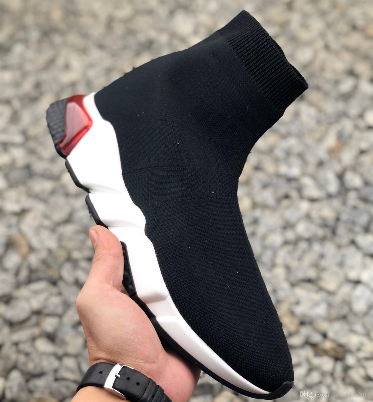 Neue Saison-Socken-Schuh Speed Trainer Clearsole Sneakers Socken-Rennen Geschwindigkeit Männer Frauen Freizeitschuhe Stretch Knit Mid Sneakers mit dem Kasten