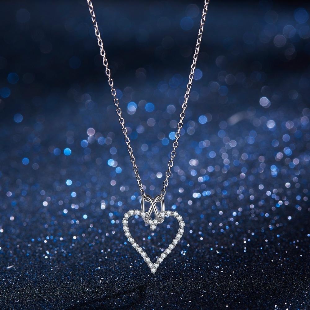 Moda Aşk Kalp Kolye Gümüş 925 kolye Salkım Kadınlar Zincir Düğün kolye Kız Hediye Takı V191129 için