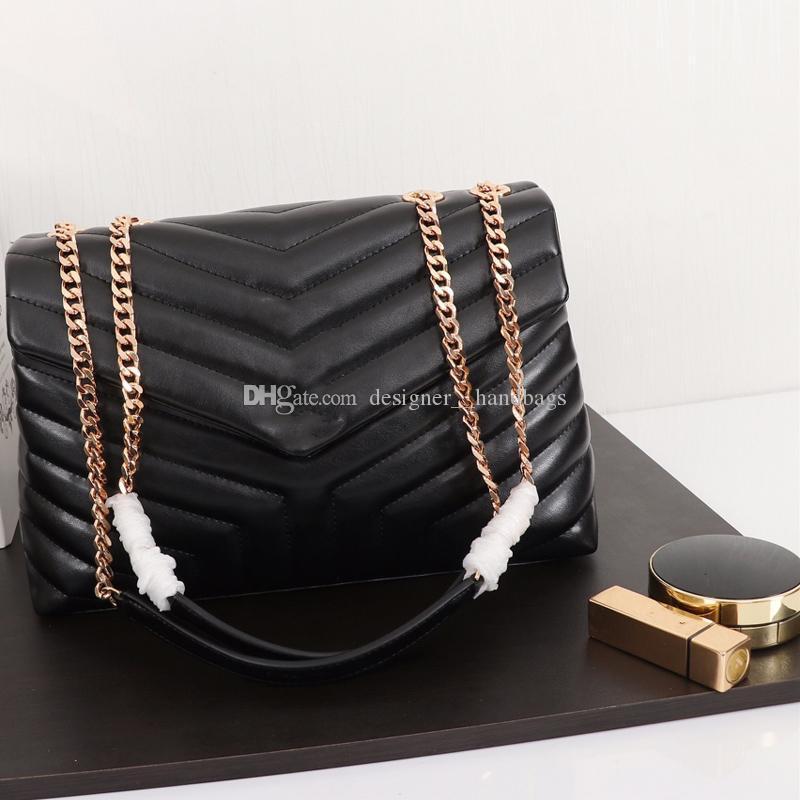 19 marca famosa crossbody borse borse griffate pianura strisce lettera catene portafogli V modello bovina in vera pelle di alta qualità
