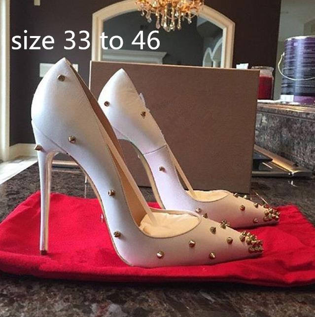 42-46 Çıplak renk Rivets Tırnaklı Yüksek Topuklar Kadın Elbise ayakkabı 10cm 12cm 8 cm tradingbear için Artı boyutu 33