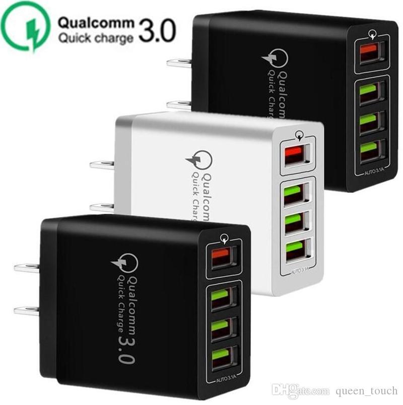 30W 4 portas USB QC3.0 Rápido carregador de parede QC 3.0 carregamento rápido carregador de parede Poder Adpater Para Samsung HTC sony