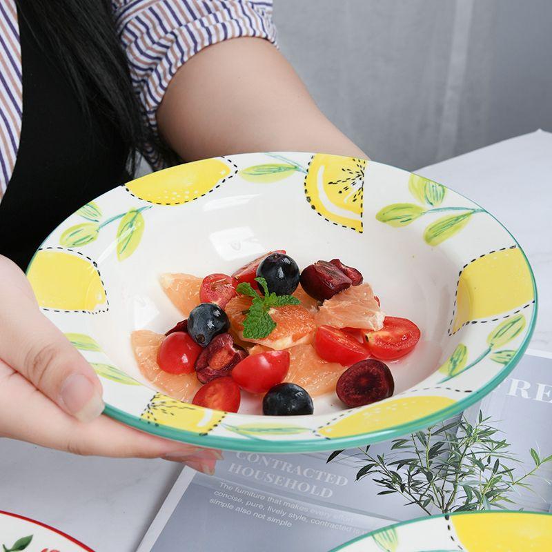 El boyaması Plakalı Kiraz Straw Cap Plakalı Meyve Salatası Bowl Sebze Bulaşık Ev Erişte Bowl Deep Dish Pasta Plaka 9 İnç