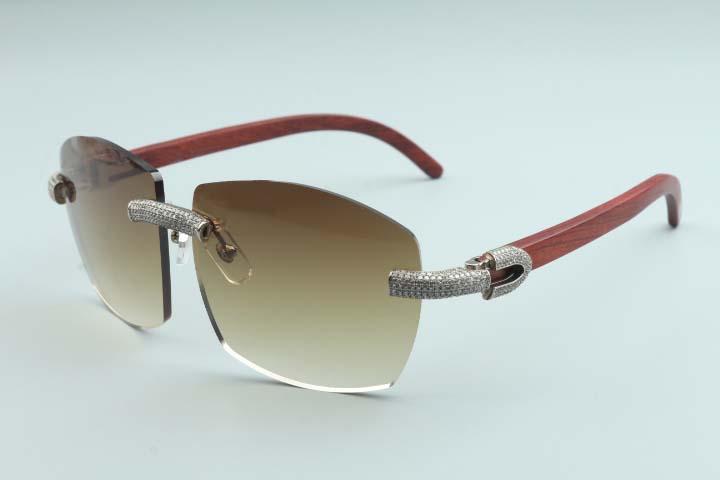 Vendita diretta della fabbrica grande cornice semplice lusso degli occhiali da sole di diamanti pieno T4189706-B4 gambe tempio in legno naturale di lusso senza cornice occhiali