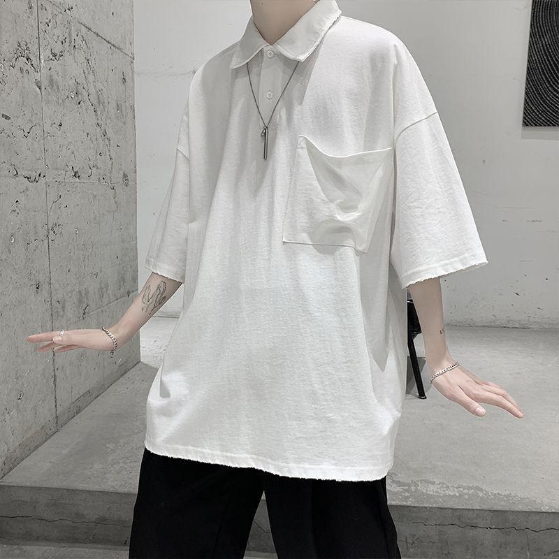 Männer Polos Sommer Hemd Mode einfarbig Casual Cottle Cotton Revers T-Shirt Herren Streetwear Lose Koreanisch Kurzärmelige T-Mens