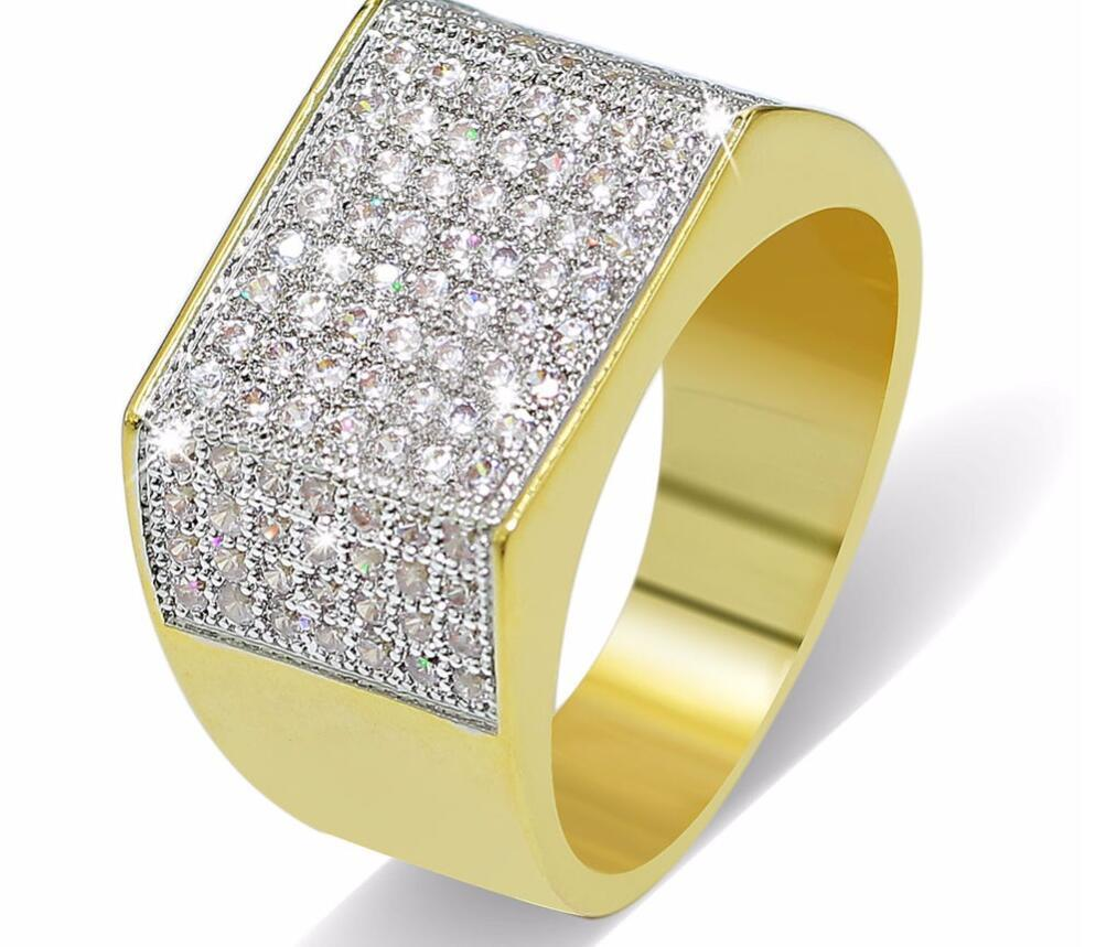 Anelli Hip Hop Bling All Iced Out Real Micro Pave CZ Cool Uomo Donna Coppia oro argento Anello Hiphop