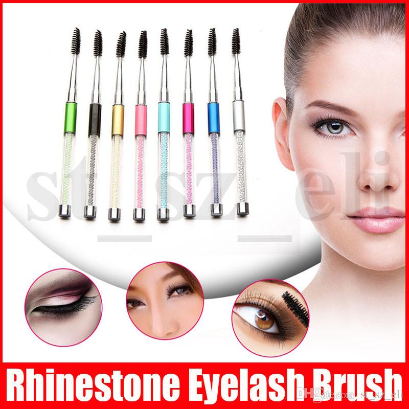 Rhinestone Eyelash Brush Mascara Applicator Eyebrow Comb Diamond Makeup Brush Reusable Spiral Lash Brush 10 Colors