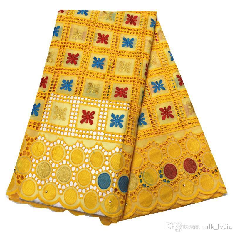 2020 tessuto africano del merletto Giallo merletto svizzero del voile in Svizzera tessuto del merletto voile di cotone di alta qualità per la festa di 5 yarde per lotto