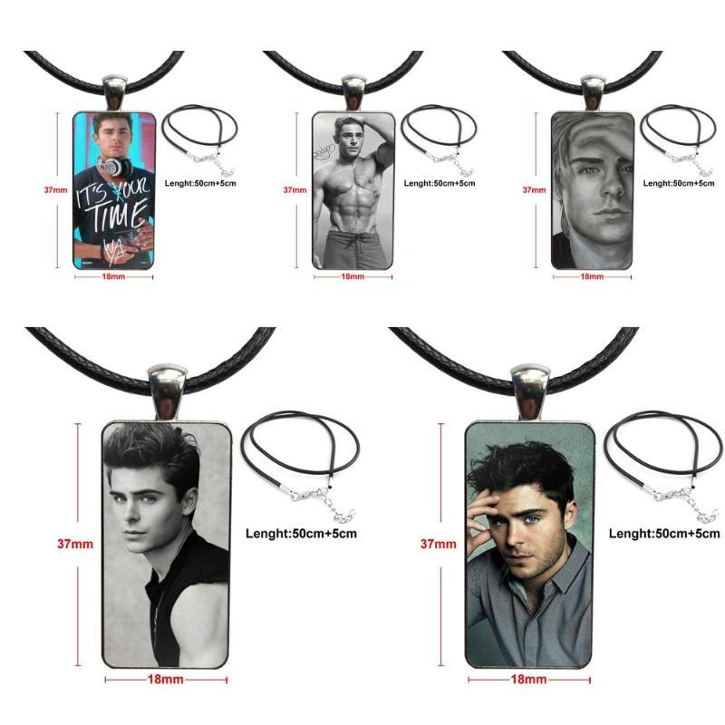 Glass Cabochon Choker Pendant Rectangle Necklace Steel Color Jewelry For Unisex Gift Zac Efron Zachary David Alexander