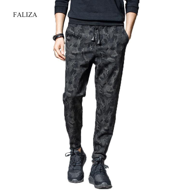 FALIZA 2019 Spring Mens Joggers Pants Camo Joggers Men's Trousers Camouflage Jogger Track Pants Mens Streetwear Sweatpants PA13