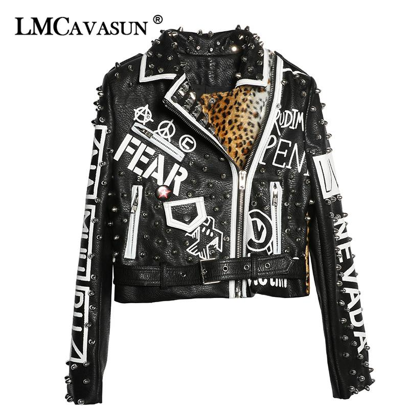 LMCAVASUN 2019 Rivet Decoration Coat Autumn Outerwear Letters Print PU Leather Jacket Women Short Coat Black Jackets Coats