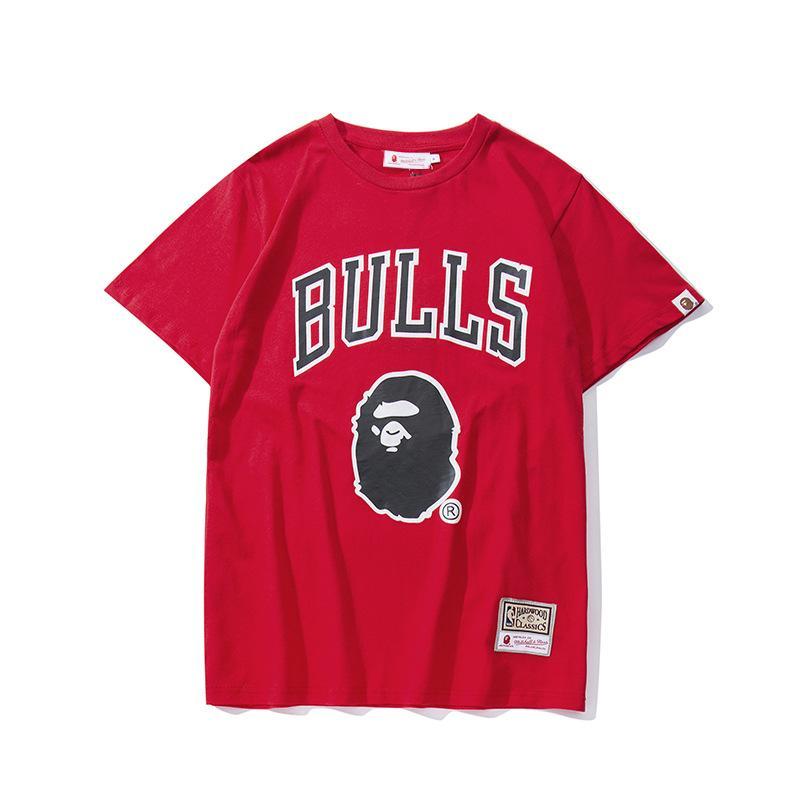 2019 남성 디자인 입욕 캐주얼 티셔츠 Aape 만화 인쇄 라운드 넥 착용 느슨한 반소매 T 셔츠 풀오버 원숭이 야외 착용