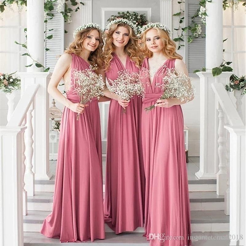 새로운 많은 색 정장 드레스 섹시한 민소매 등이없는 크리스 크로스 스트랩 컨버터블 웨딩 드레스 신부 들러리 드레스 볼 가운