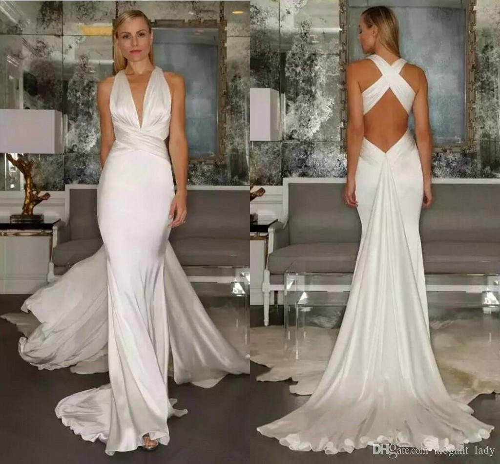 2018 Mermaid Wedding Dresses Beach Sexy Simple Cross Belt Open Back Casual Deep V Neck sgreek goddess leeveless Wedding Dress