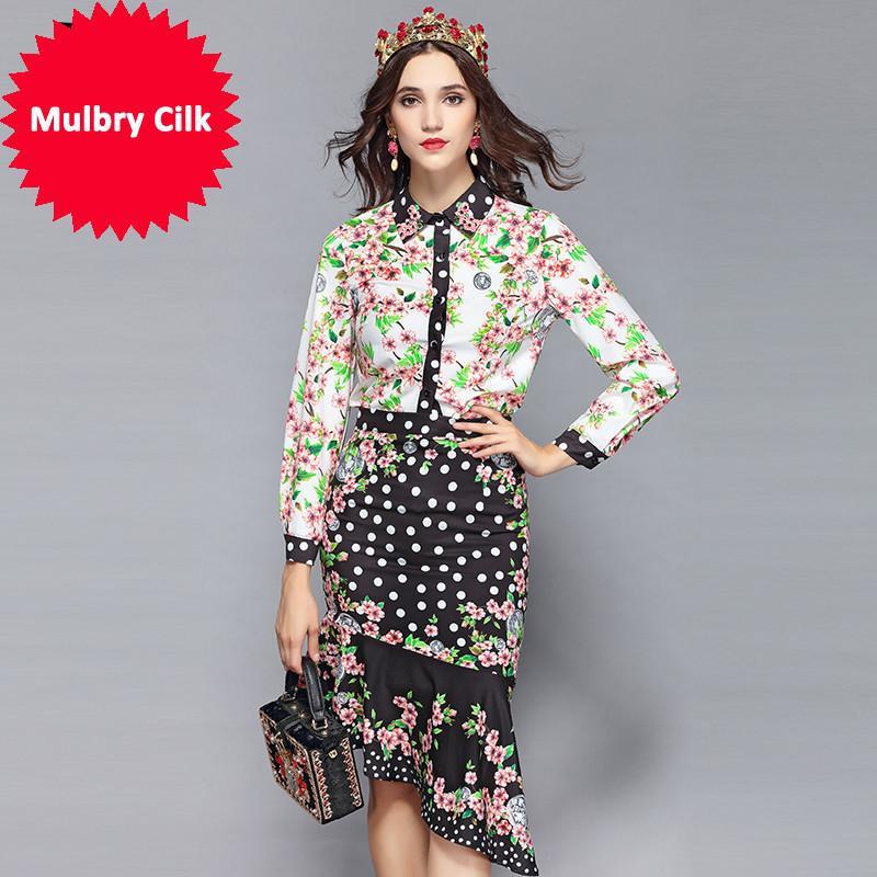 2019 Fashion Runway Spring Skirt Sets Damen Blumendruck Blusen + Sexy Asymmetrische Röcke Zweiteiler Anzug