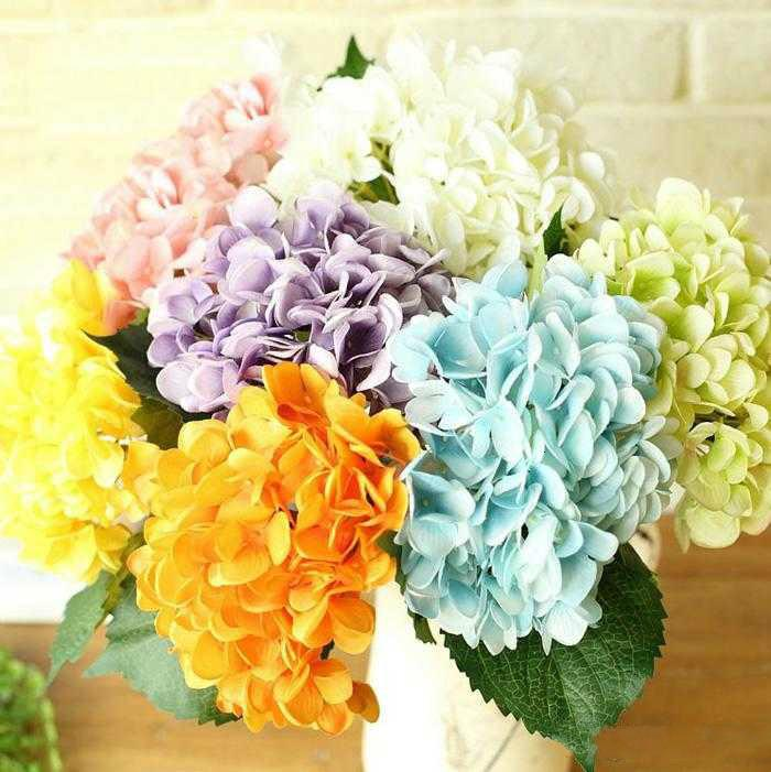 Di seta del Hydrangea grande fiore libero artificiale 7.5 Falso Wedding Bouquet di fiori bianchi per la Tabella Centrotavola Decorazione Consegna gratuita