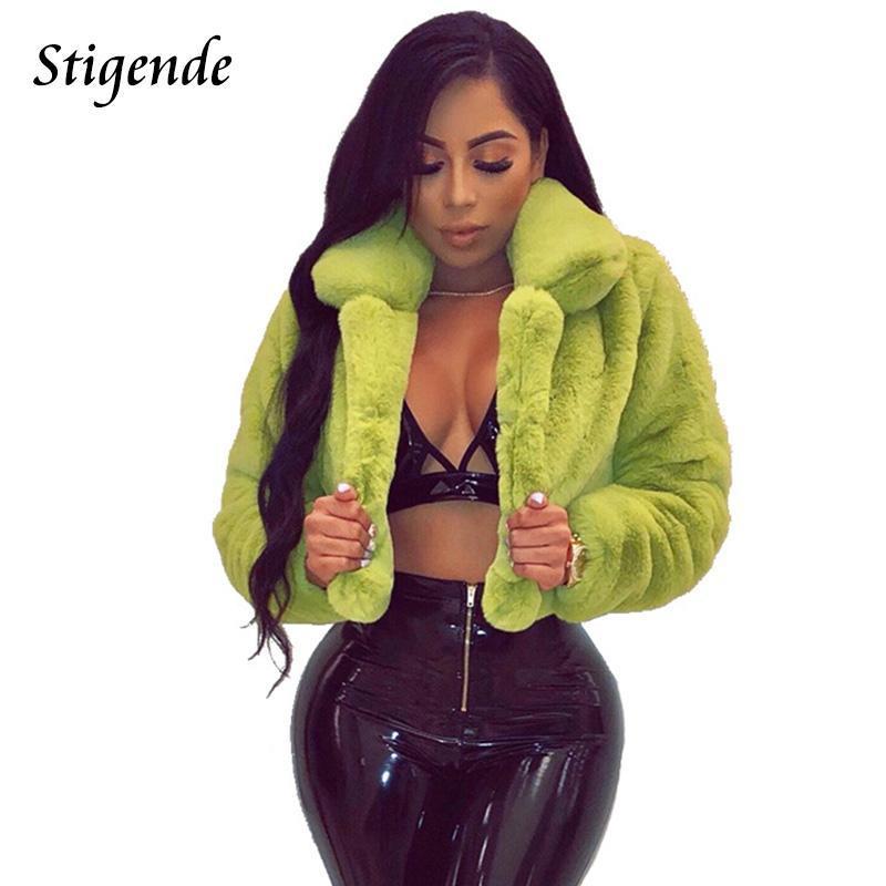 Женщины Sexy Fur Поддельный Пушистый Crop пальто с длинным рукавом Теплый искусственного меха клуб Пальто и куртки вскользь Turn воротник партии