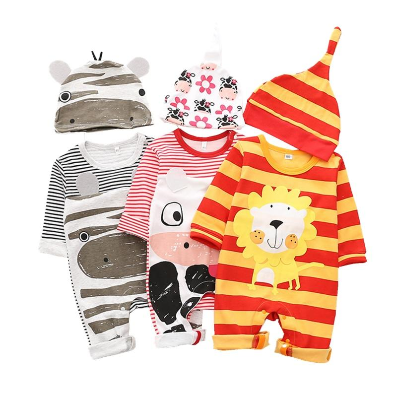 Cartoon Animal Baby Rompers Long Sleeve One-Piece Jumpsuit with Hat Set for Little Lion Costume Newborns Toddlers Casual Clothes