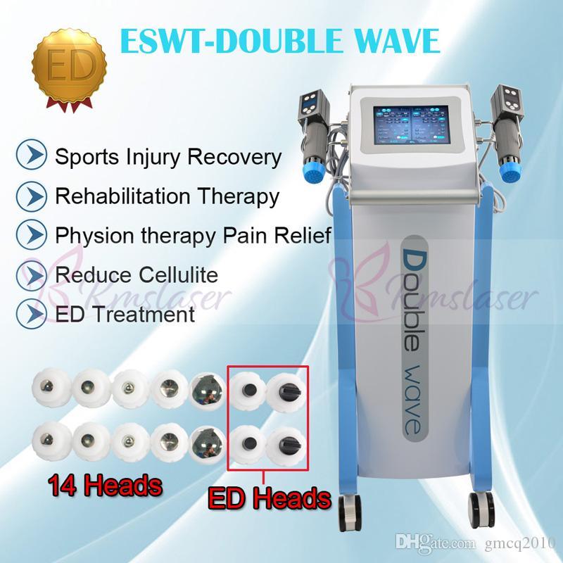 2 alças trabalham juntos máquina de terapia de ondas de choque verticais com 14 peças transmissores para tratamento de tendinite de Aquiles ED