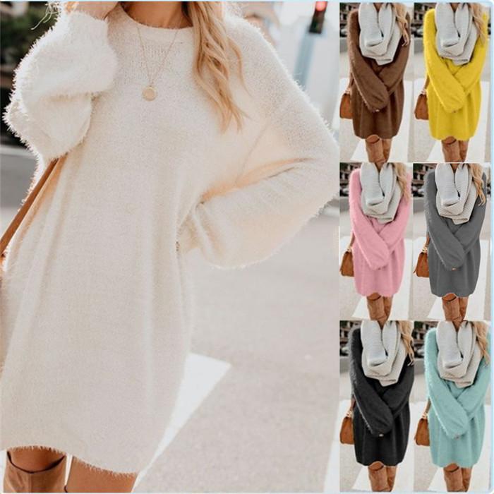 Женщины шеи экипажа платье плюша с длинным рукавом Свободные зимы сплошного цвета вскользь платья Famale Модная одежда